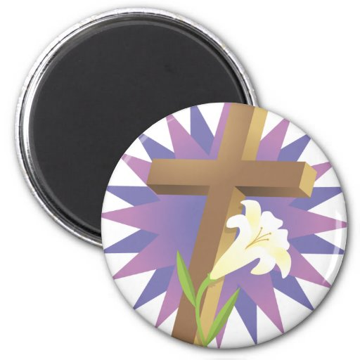 Cross and Lily Fridge Magnet