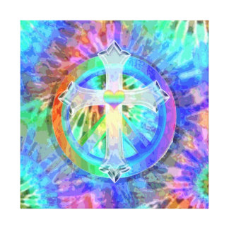Cross and Peace Sign Canvas Print