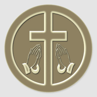 CROSS AND PRAYING HANDS CLASSIC ROUND STICKER