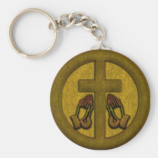 CROSS AND PRAYING HANDS KEYCHAIN
