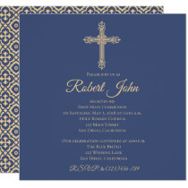 Cross and Quatrefoil First Communion Invitation