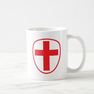 cross and shield coffee mug