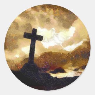 Cross and Sky Classic Round Sticker