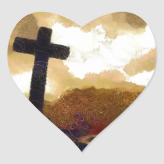 Cross and Sky Heart Sticker