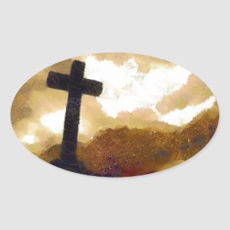 Cross and Sky Oval Sticker