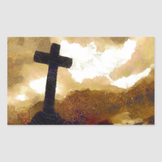 Cross and Sky Rectangular Sticker