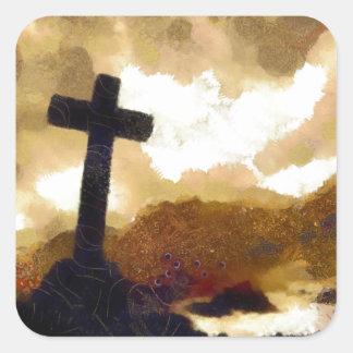 Cross and Sky Square Sticker