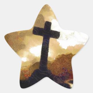 Cross and Sky Star Sticker