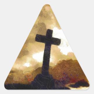 Cross and Sky Triangle Sticker