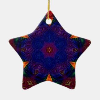 Cross and Star Mandala Ceramic Ornament
