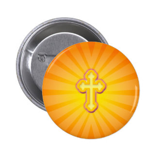 CROSS AND SUN RAYS PINBACK BUTTON