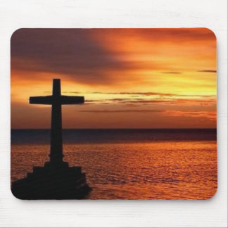 cross and sunset  mousepad
