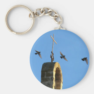 Cross and Three Birds Keychain