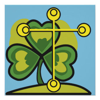 Cross and Three Leaf Clover, Holy Trinity Poster
