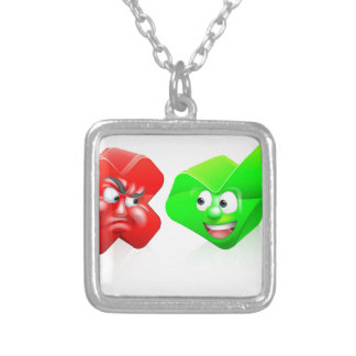 Cross and Tick Cartoon Characters Square Pendant Necklace