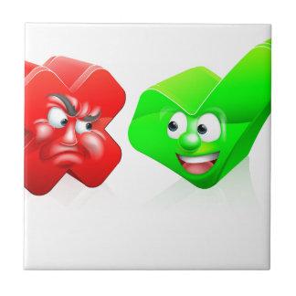 Cross and Tick Cartoon Characters Tile