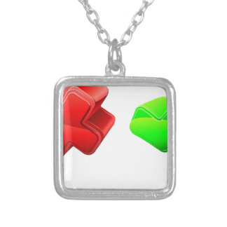 Cross and tick people square pendant necklace