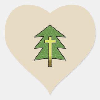"Cross and Tree ""Love Creation"" Heart Sticker"