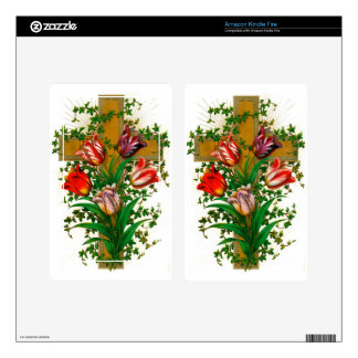 CROSS AND TULIPS DECAL FOR KINDLE FIRE