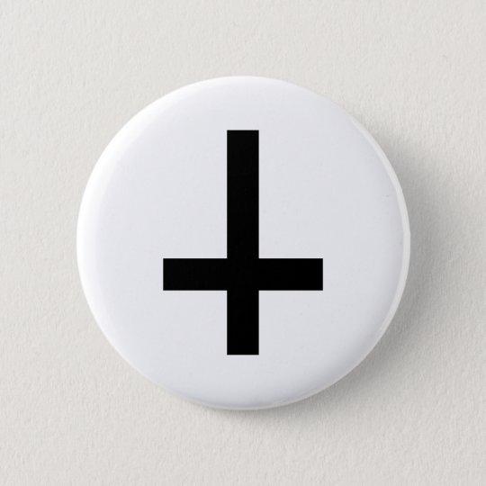 Cross antichrist pinback button