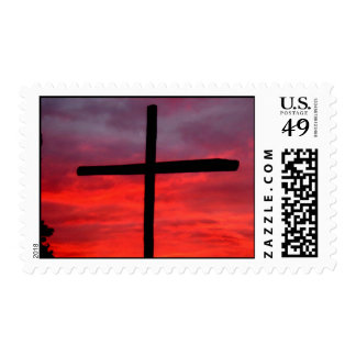 cross at sunrise postage stamp