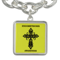 Cross/Awareness...Endometriosis Charm Bracelet