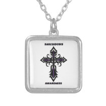 Cross/Awareness...Sarcoidosis Silver Plated Necklace