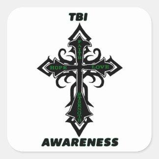 Cross/Awareness...TBI Square Sticker