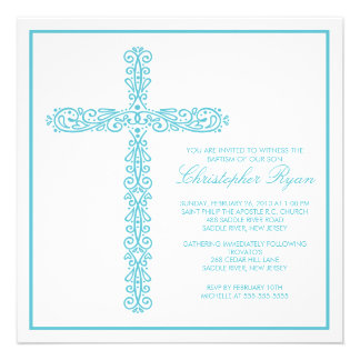 Cross Baptism Christening Boy Baptism Inviation Invite