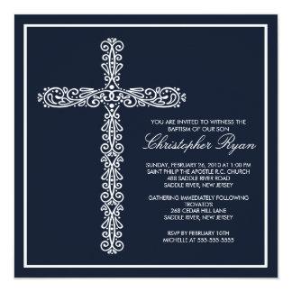 Cross Baptism Christening Boy Baptism Inviation Custom Announcements