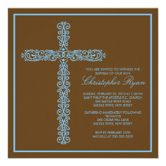 Cross Baptism Christening Boy iBaptism Inviation Custom Invitation
