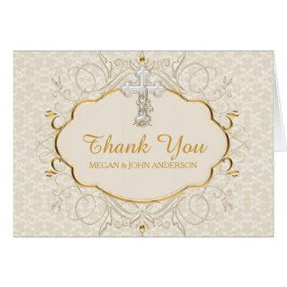 Cross Baptism Christening Thank You Card