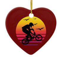 cross bike retro sunset, #cross bike ceramic ornament
