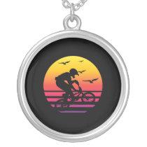 cross bike retro sunset, #cross bike silver plated necklace