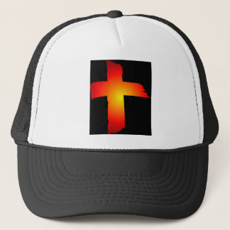 Cross Black Background Trucker Hat