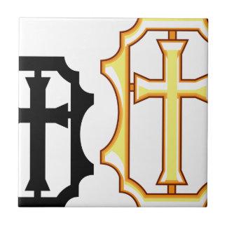 Cross black gold Frame Ceramic Tile