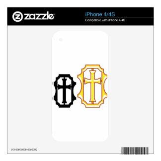 Cross black gold Frame Skins For iPhone 4S