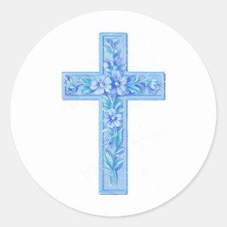 cross blue classic round sticker