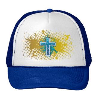 Cross blue straight solid hat