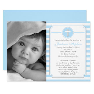Cross Blue Stripes Boy Photo Baptism Invitation