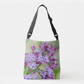 Cross body tote bag with Lilac flower