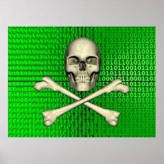 Cross Bones on Binary Poster