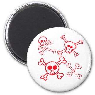Cross Bones & Skulls 2 Inch Round Magnet