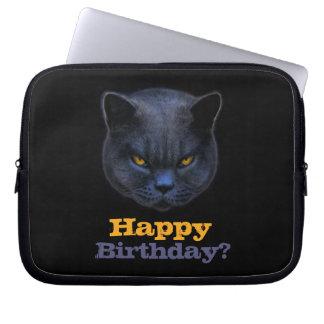 Cross Cat says Happy Birthday? Computer Sleeve