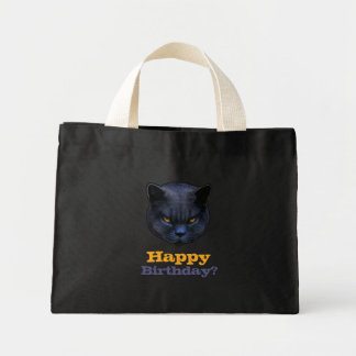 Cross Cat says Happy Birthday? Mini Tote Bag