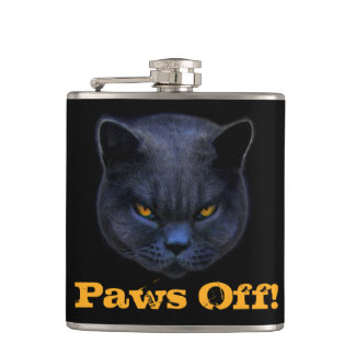 Cross Cat says Paws Off! Flasks