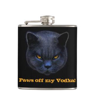 Cross Cat says Paws off my Vodka! Hip Flasks