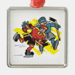 cross checking ice hockey players christmas tree ornaments