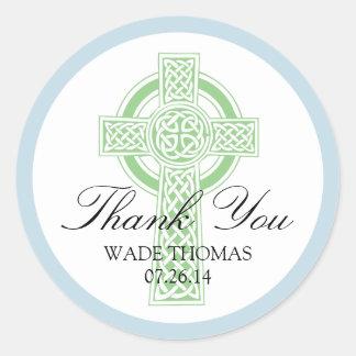 CROSS Christening, Shower or First Communion Classic Round Sticker
