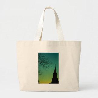 Cross Church Steeple at Twilight Canvas Bags